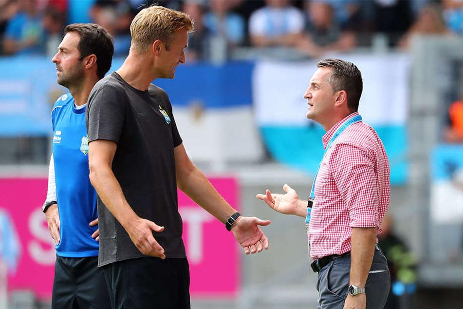 Redebedarf: CFC-Coach David Bergner (l.) und Sportchef Thomas Sobotzik.