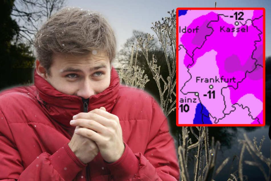 Ganz schön eisig: In Hessen sanken die Temperaturen auf bis zu -14 Grad. (Symbolbild/Fotomontage)