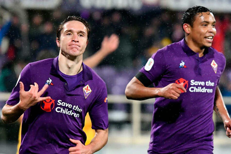 Weltklasse! Fiorentinas Youngster Federico Chiesa (l.) erzielte in der Partie gegen den AS Rom drei Tore.