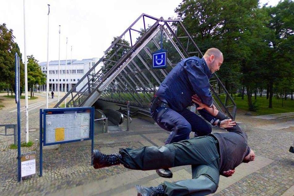 """An der """"Tüte"""" in Bielefeld überfiel ein 21-Jähriger sein Opfer und kniete sich auf dessen Rücken."""
