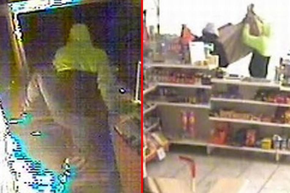 Mit Bildern aus der Überwachungskamera fahndet die Polizei nach den Einbrechern.