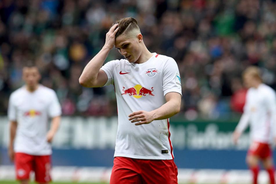 RB-Spieler Marcel Sabitzer verließ schon zur Halbzeitpause sichtlich frustriert den Platz.