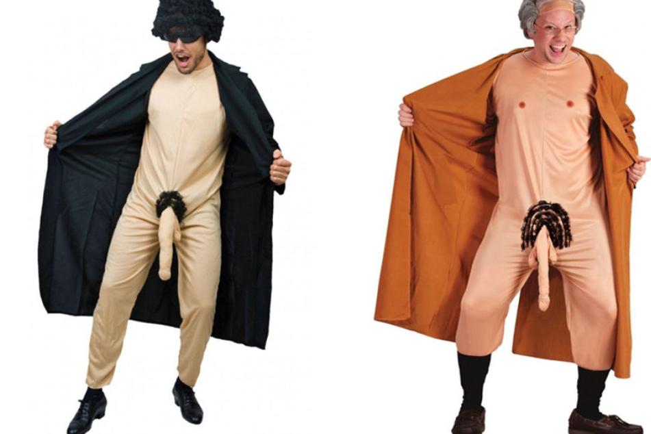 Zwei der geschmacklosen Exhibitionisten-Kostüme bei Amazon.