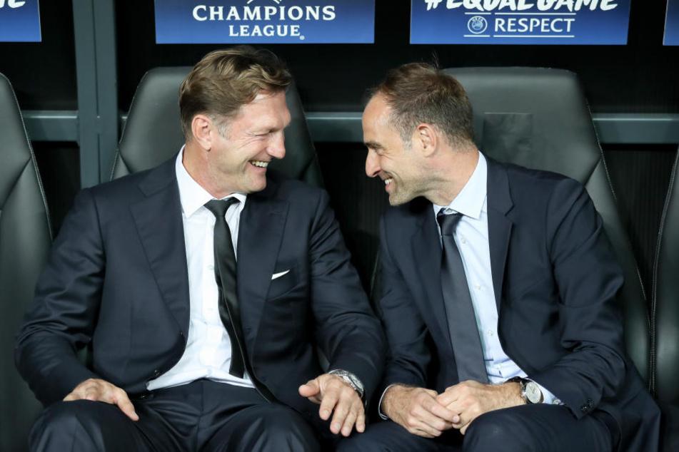 Haben nach dem 4:1 gegen Monaco gut lachen: RB-Trainer Ralph Hasenhüttl (li.) neben Geschäftsführer Oliver Mintzlaff.