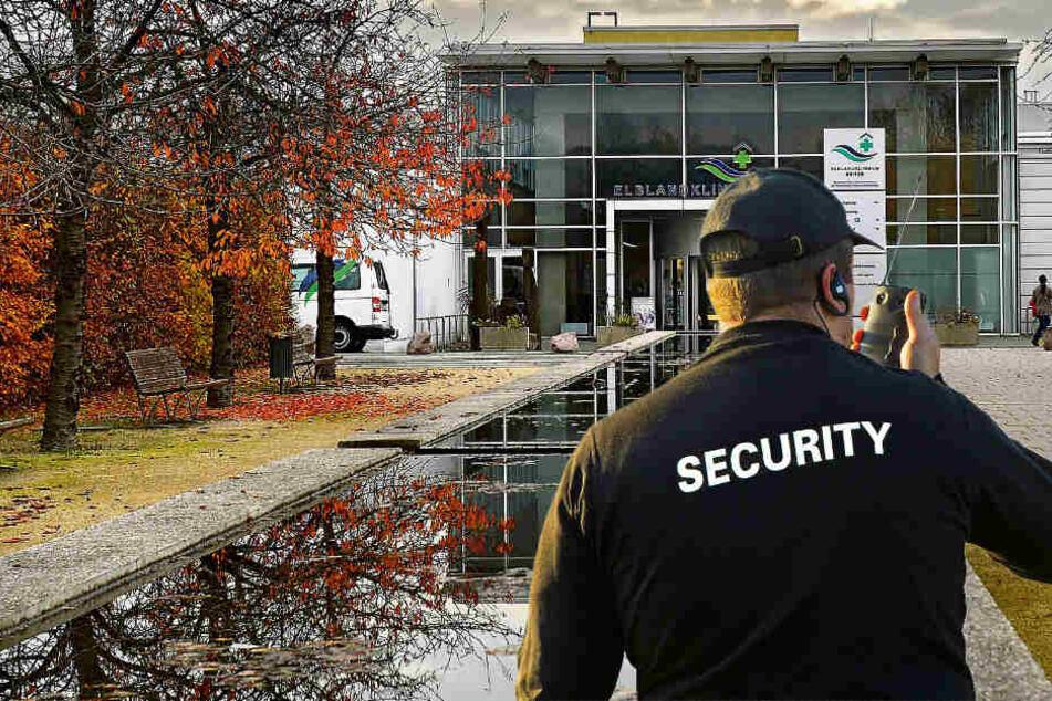 Als erstes Krankenhaus in Sachsen werden die Elblandkliniken von einem Sicherheitsdienst überwacht. (Bildmontage)