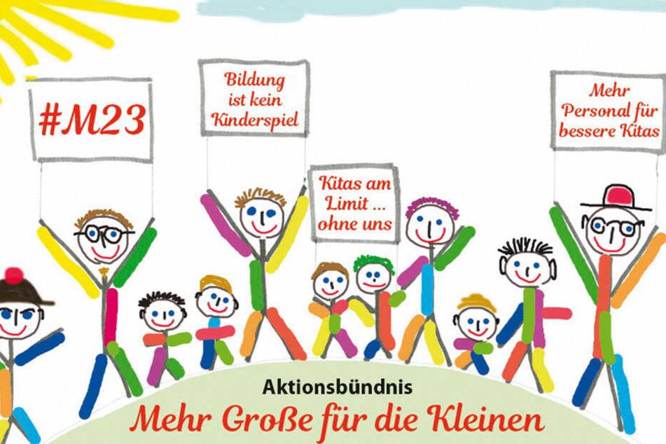 """Aufruf des Aktionsbündnisses """"Mehr Große für die Kleinen"""" gegen das neue Kita-Gesetz."""