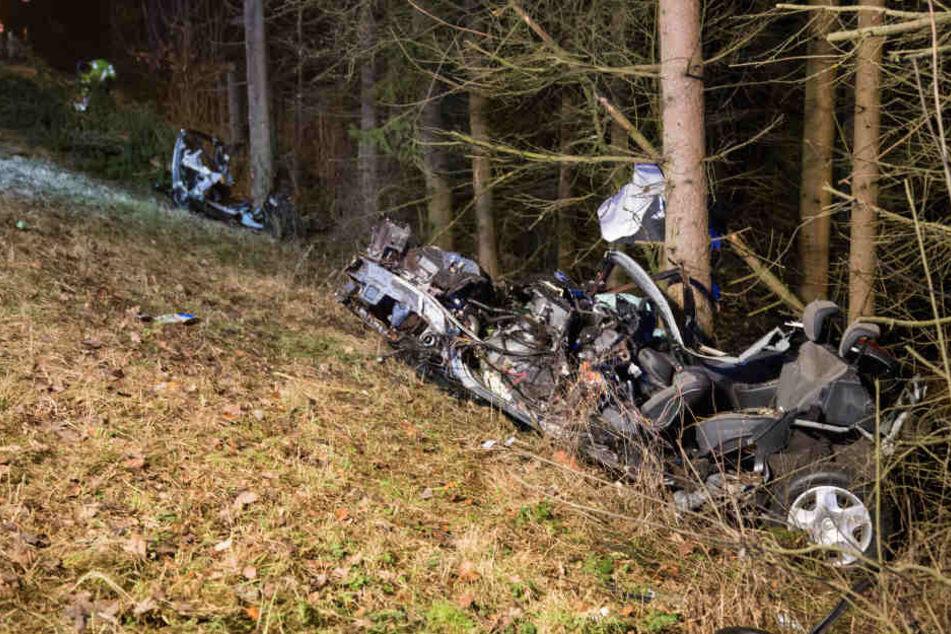Bei dem Aufprall gegen mehrere Bäume riss das Auto in zwei Teile.