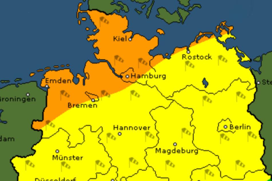 Am Freitag ziehen die Ausläufer eines Orkantiefs über Norddeutschland.