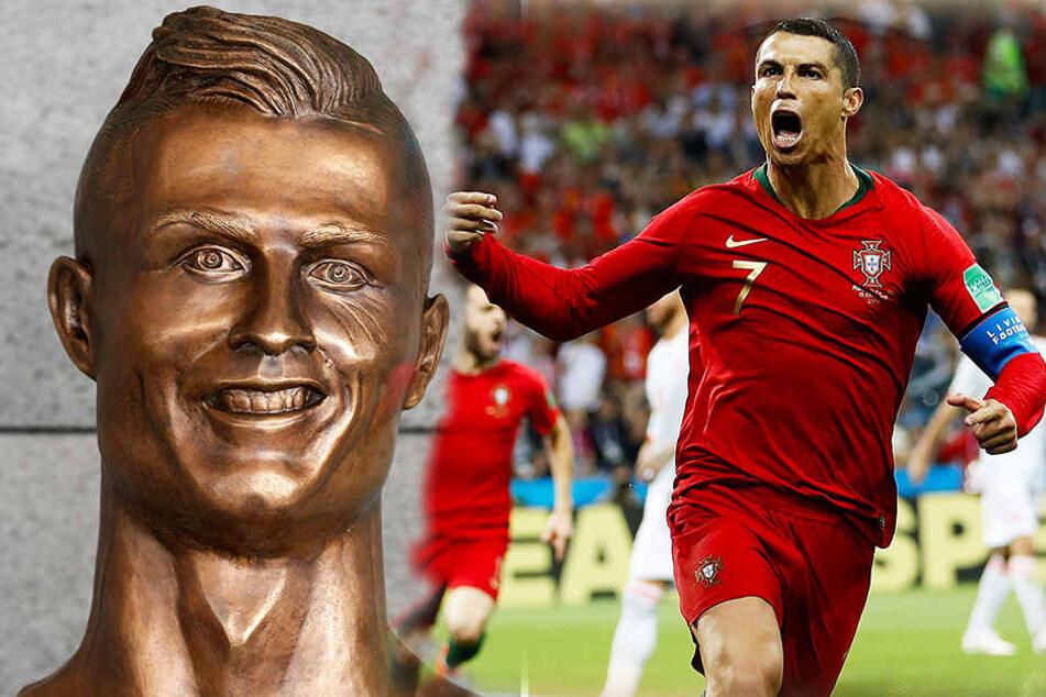 Die zweifellos hässliche Büste (l.) von Cristiano Ronaldo (r.) am Flughafen auf Madeira wurde ausgetauscht.