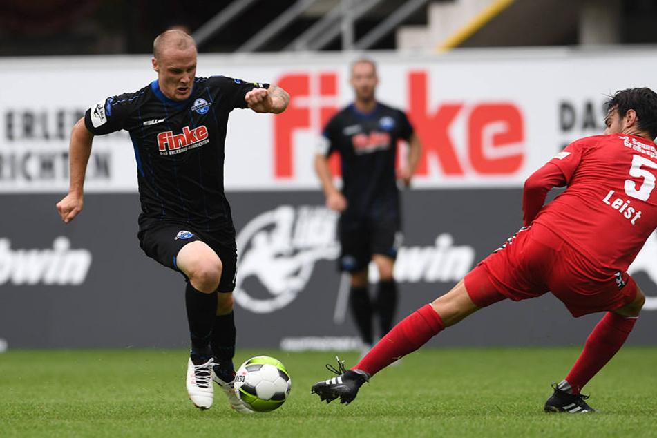 Sven Michel (li. 27) spielte gegen die SG Sonnenhof Großaspach eine klasse Partie.