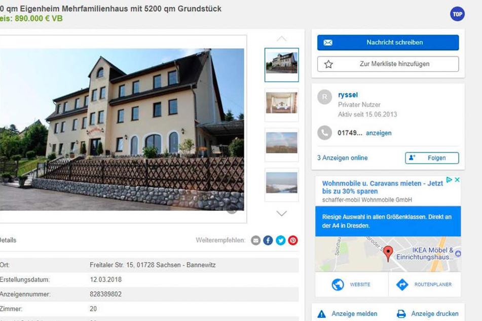 Aktuell steht das Haus auf Ebay-Kleinanzeigen zum Verkauf.