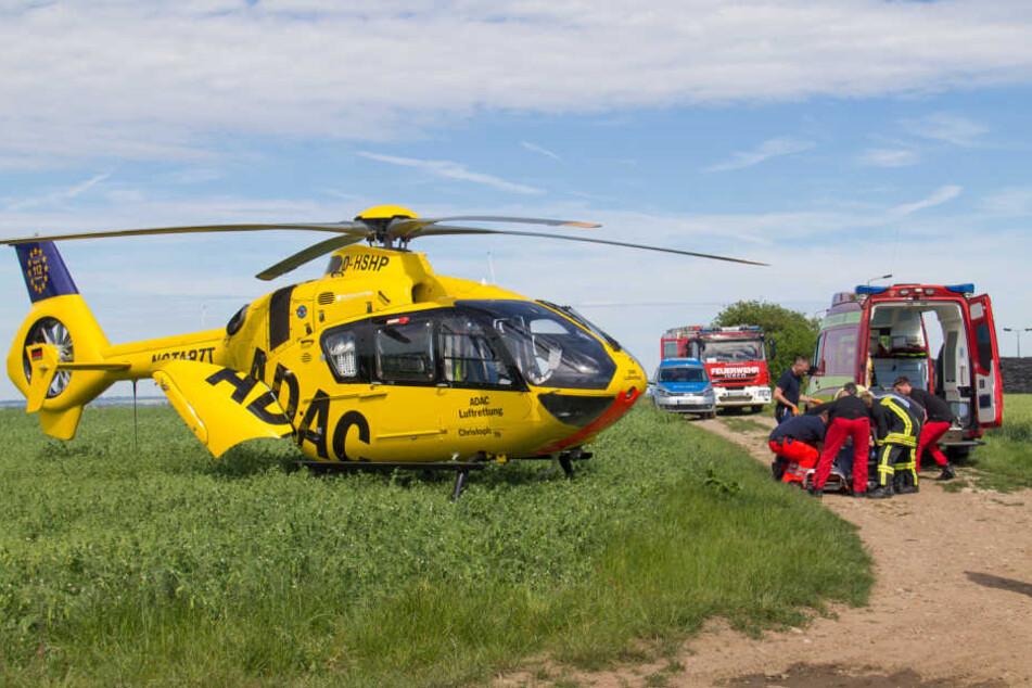 Der schwer verletzte Hundebesitzer musste mit dem Rettungshubschrauber ins Krankenhaus geflogen werden.