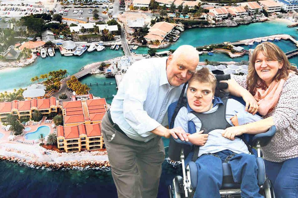 Oliver (52) und Alla Karl (40) kümmern sich liebevoll um ihren Sohn Benjamin - ein Vollzeitjob! Im Delfin-Therapiezentrum auf der Insel Curacao weiß man um die positive  Wirkung der Meeressäuger auf kranke Menschen.