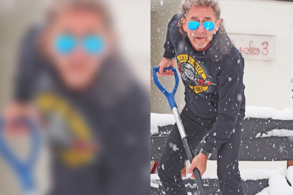 Superstar muss selber ran: So cool schippt der Alt-Rocker Schnee