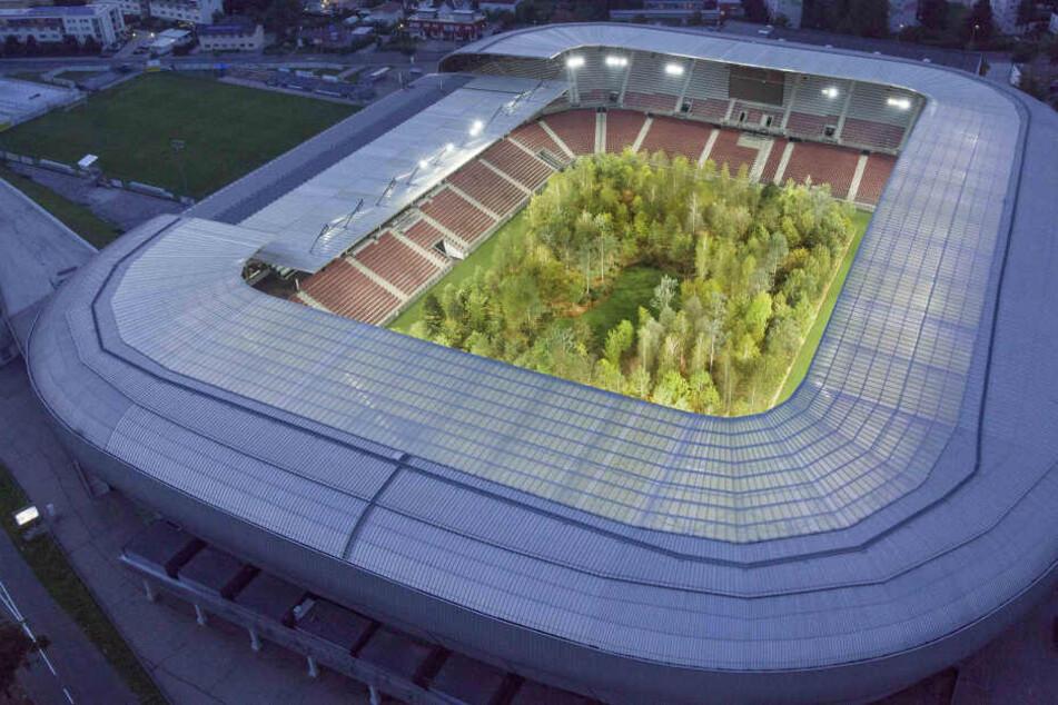 Das Stadion mit den 299 Bäumen aus der Vogelperspektive.