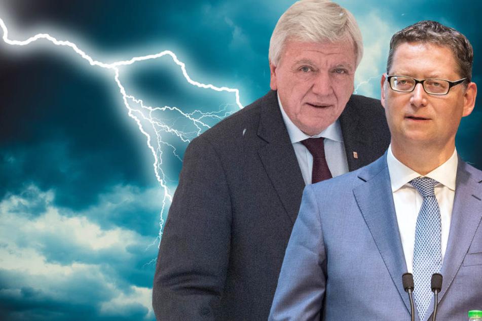 Ministerpräsident Volker Bouffier (l., CDU) und sein SPD-Herausforderer Thorsten Schäfer-Gümbel müssen den Wahlausgang gleichermaßen fürchten (Fotomontage).