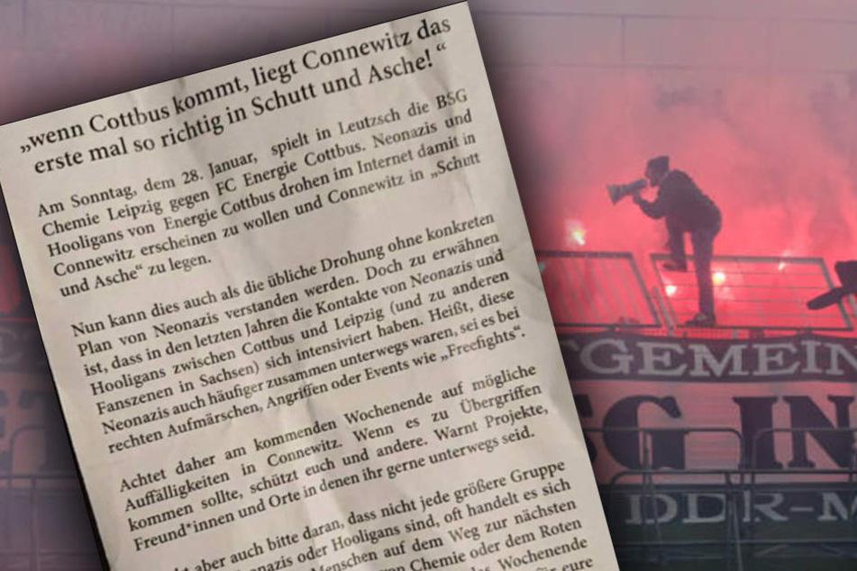 """""""Neonazis und Hooligans von Energie Cottbus drohen im Internet damit in Connewitz erscheinen zu wollen und Connewitz in 'Schutt und Asche' zu legen"""", heißt es auf dem Antifa-Flyer."""