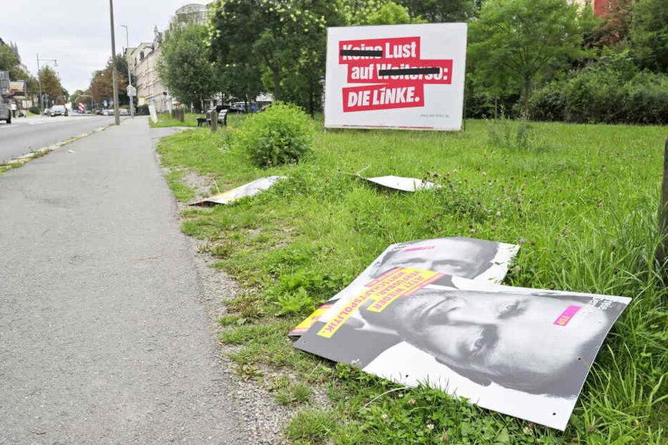 Christian Lindner am Boden: In der Rechsstraße wurden FDP-Plakate heruntergerissen.