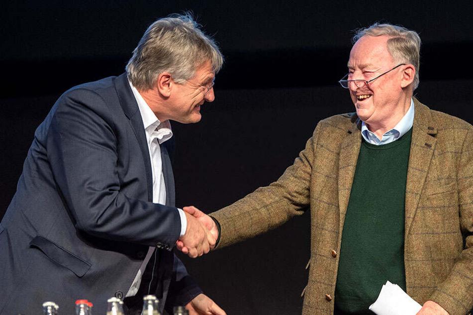 Jörg Meuthen und Alexander Gauland reichen sich die Hände.