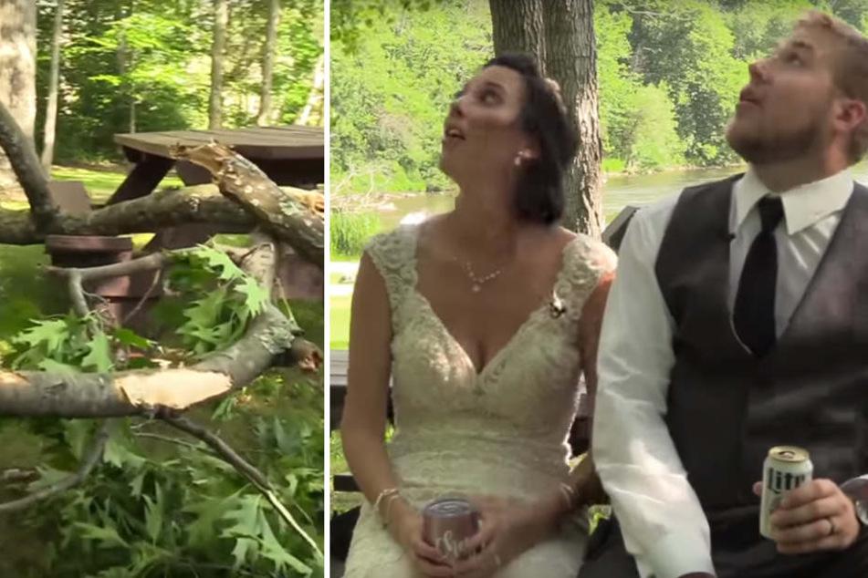 Cheyenne und Lucas blickten noch erschrocken nach oben, da kam der Baum schon auf sie zugerast. Zum Glück konnten sie beide retten.