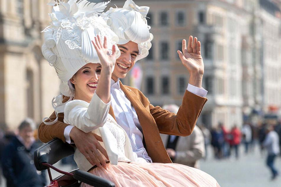 """A Dominica (35) und Tomasso (27) sind Maria Josepha und Friedrich August II. Sie wollen bei ihrem Auftritt """"improvisieren""""."""
