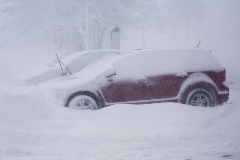 Im Erzgebirge sind die Autos schon unter einer dicken Schneeschicht begraben.