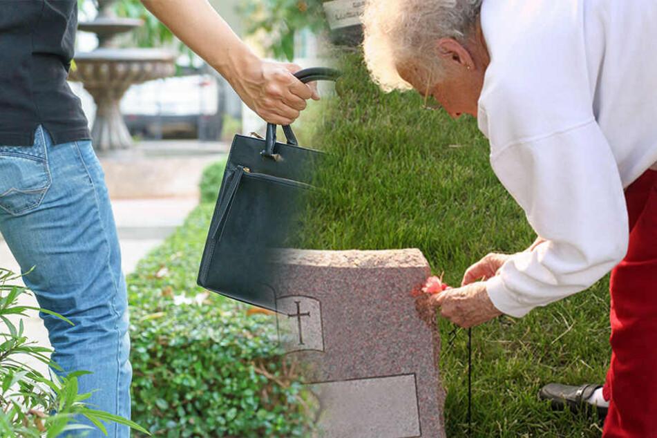 Der Dieb schubste die alte Frau erst und klaute dann ihre Handtasche. (Symbolbild)