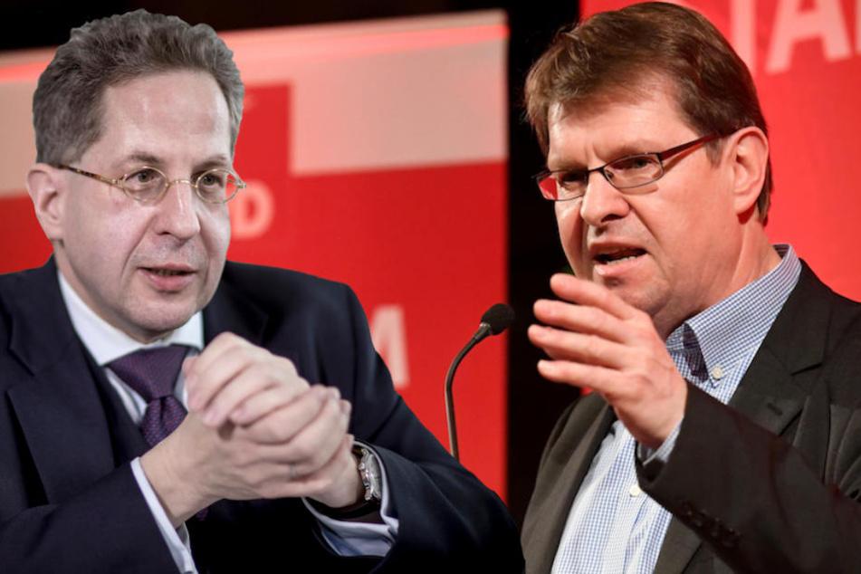 SPD-Bundesvize Ralf Stegner (59, re.) lässt kein gutes Haar an Hans-Georg Maaßen (55). (Bildmontage)