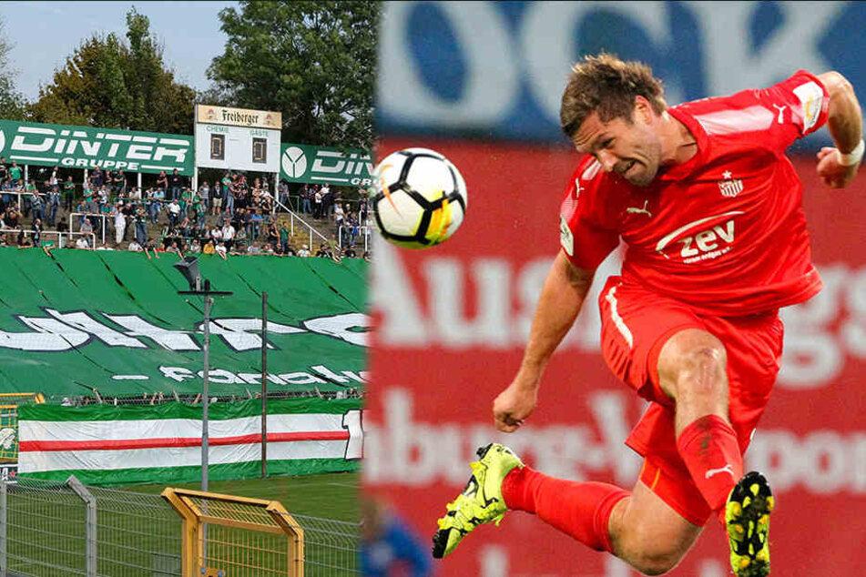 Chemie Leipzig fordert in im Sachsen-Pokal-Achtelfinale den FSV Zwickau (rechts Torjäger Ronny König).