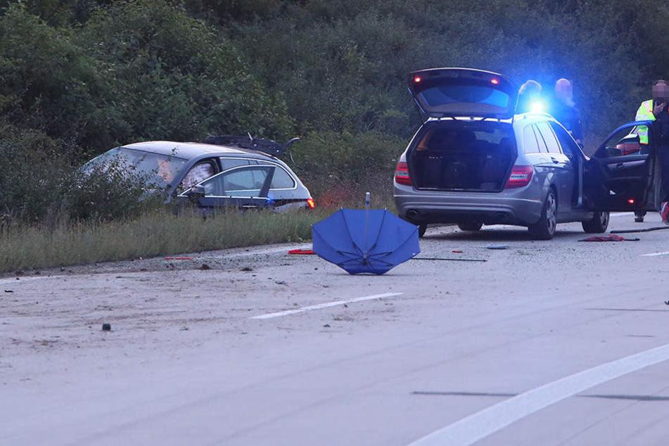 Der Flüchtige landete mit dem Wagen im Straßengraben.