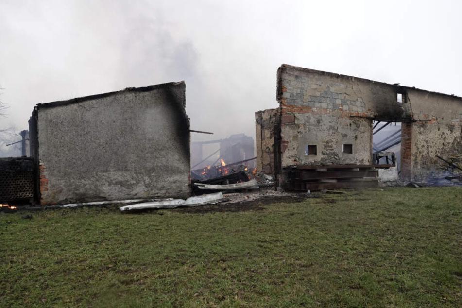 Die Feuerwehr ließ die Scheune kontrolliert abbrennen.