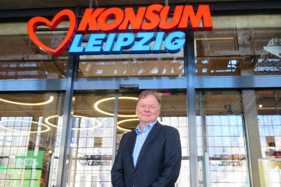 Kann die ablehnende Haltung gegen seine Westwerk-Filiale nicht verstehen: Leipzigs Konsum-Chef Dirk Thärichen (49).
