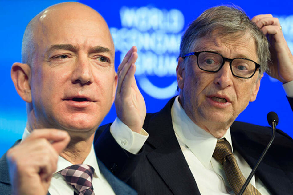 Amazon-Chef Jeff Bezos (53, l.) hat Microsoft-Gründer Bill Gates (61) als reichsten Mensch der Welt abgelöst.