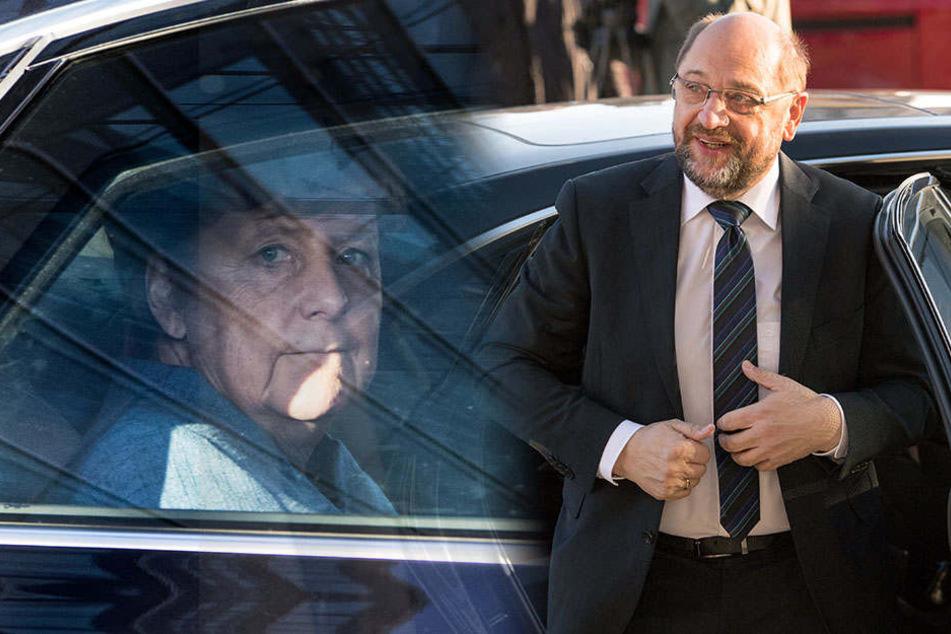Angela Merkel und Martin Schulz auf den Weg zu den Sondierungen. Wird am Donnerstag die Entscheidung verkündet?