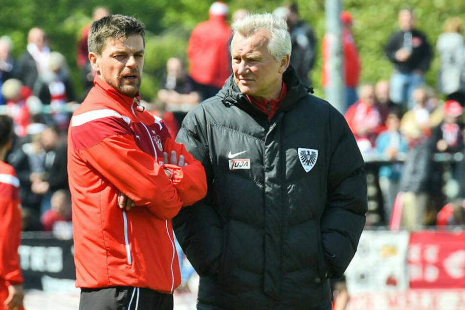 Torsten Ziegner (l.) war bedient, Münster-Coach Benno Möhlmann konnte lächeln.