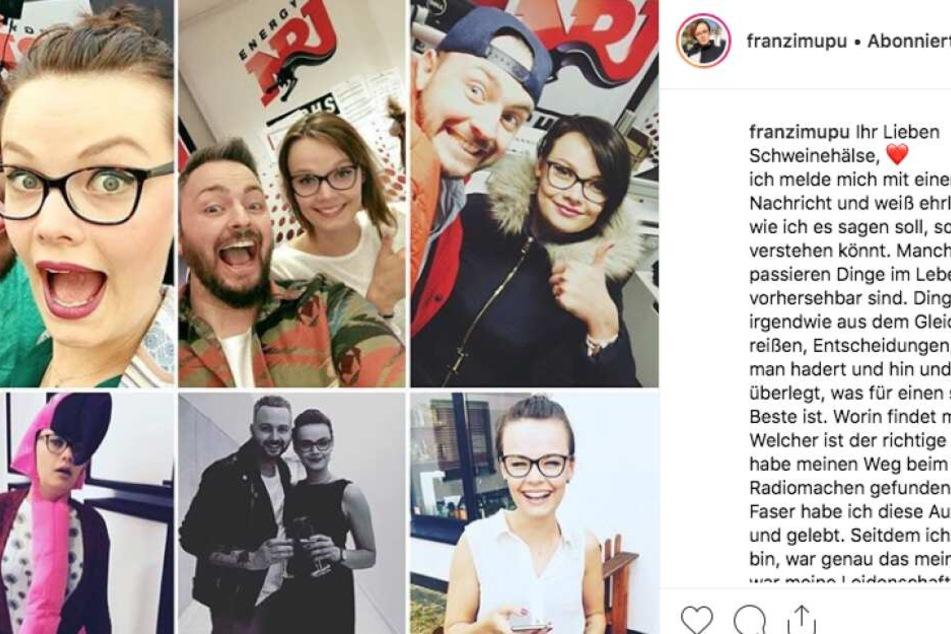 Mit dem Post gab Franzi das Aus auf Instagram bekannt.