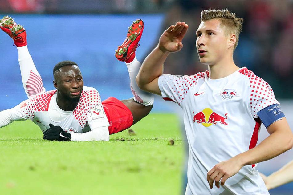 Werden im Rückspiel fehlen: Naby Keita (l.) und Abwehrchef Willi Orban (25).