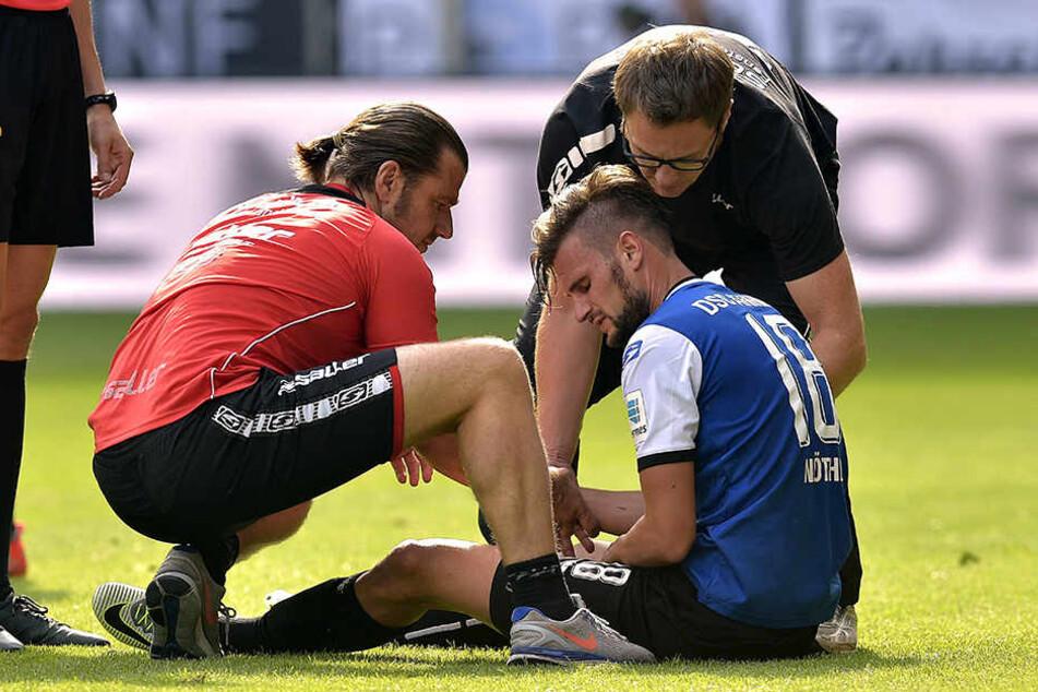 Christopher Nöthe musste im Spiel gegen Hannover verletzt raus. Für das Spiel gegen Aue fällt er aus.