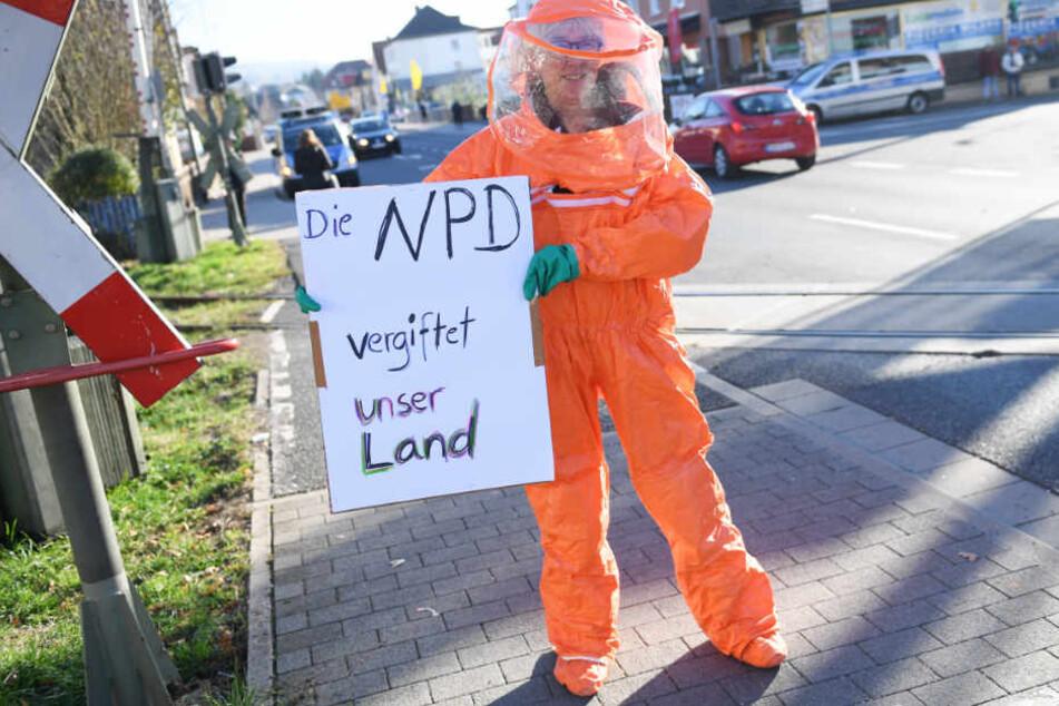 Gegen den Bundesparteitag der NPD im November in Büdingen gab es Protest.