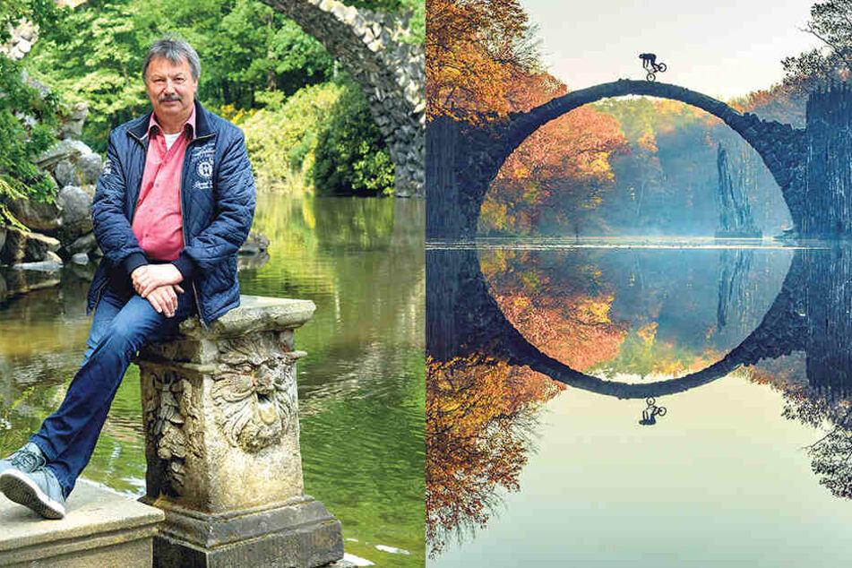"""Dieses verbotene Bild eines Radfahrers auf der """"Teufelsbrücke"""" gewann den Redbull Illume Award.Dietmar Noack (62, CDU, li.) kann sich über das Sieger-Bild gar nicht freuen."""