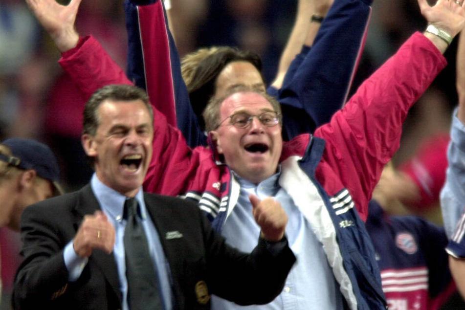 Ottmar Hitzfeld (l.) und Uli Hoeneß (r.) konnte beim FC Bayern München große Erfolge feiern.