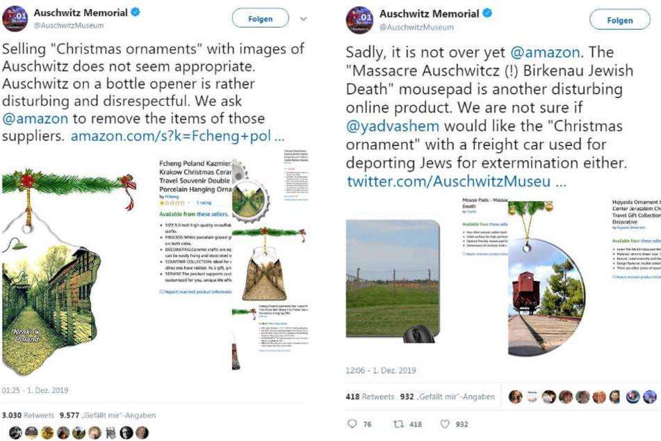 """So meldete das Staatliche Museum Auschwitz-Birkenau die """"Souvenirs"""" auf Twitter."""