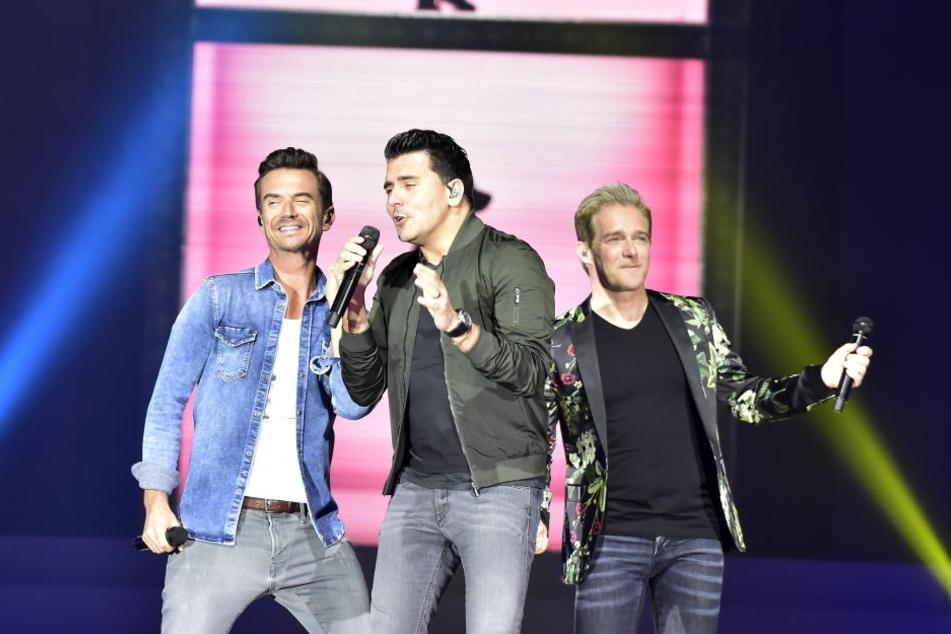 Florian Silbereisen mit seinen Gesangskollegen Jan Smit (31) und Christoff de Bolle (40) von Klubbb3.