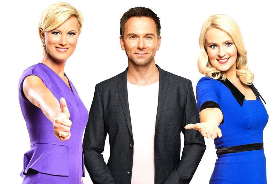 Sind wochentags ab 14 Uhr auf dem MDR-Bildschirm: Kamilla Senjo (44, v.l.), Tino Böttcher (35) und Anja Petzold (49).