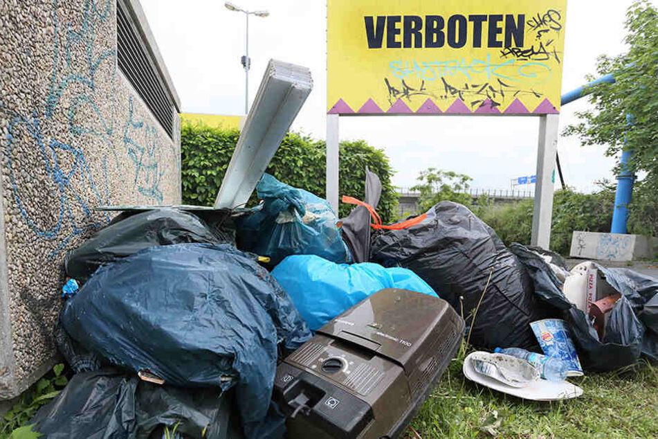 Abgelegter Müll türmt sich an der Grenzallee.