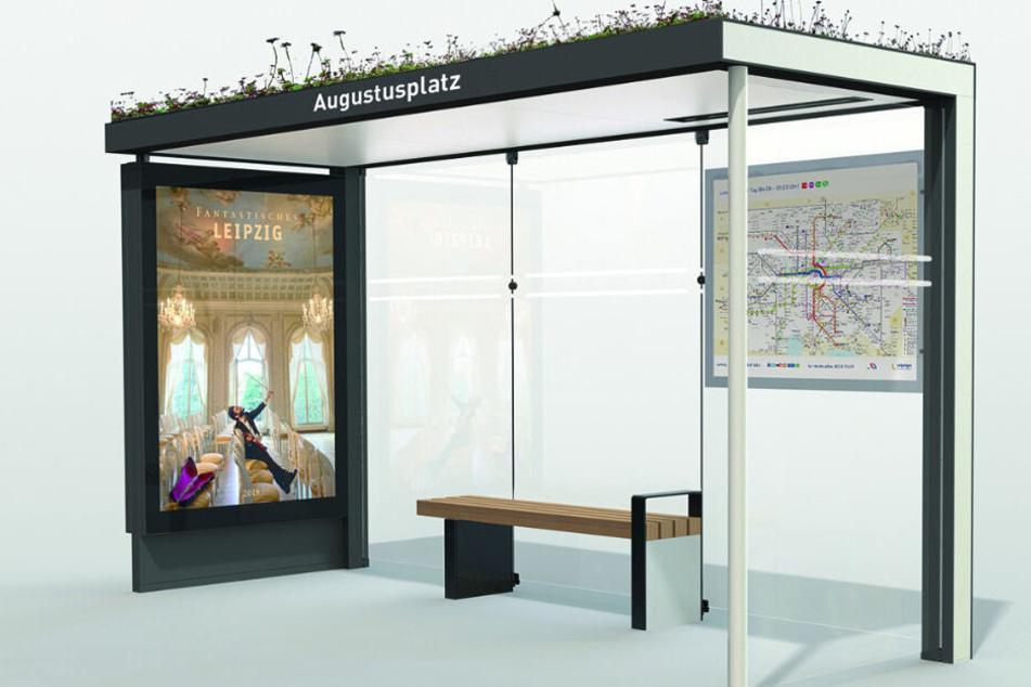 So werden die neuen Wartehäuschen an den Haltestellen für Bus und Bahn aussehen.