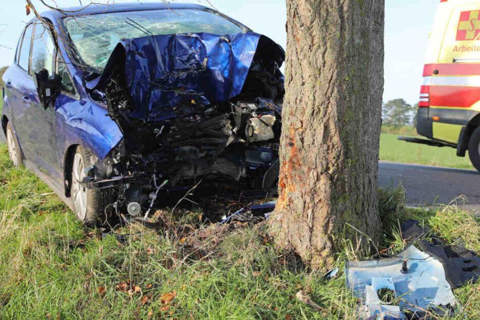 Das Auto fuhr frontal gegen einen Baum.