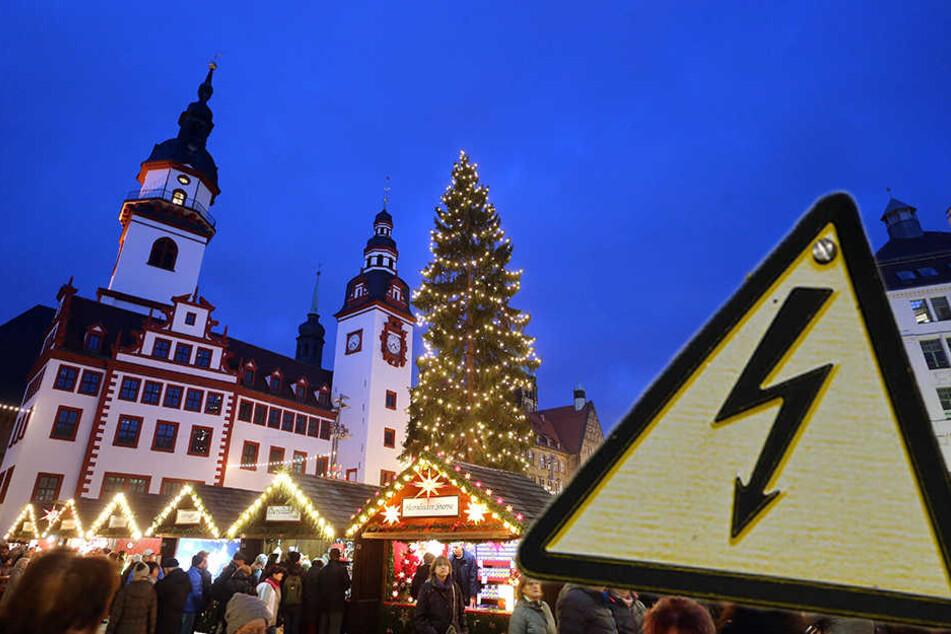 Einige Händler auf dem Weihnachtsmarkt standen plötzlich im Dunkeln.