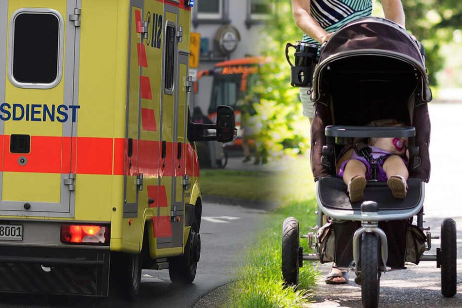 Die Laterne traf den Kinderwagen direkt. Das kleine Mädchen hatte Riesen-Glück!