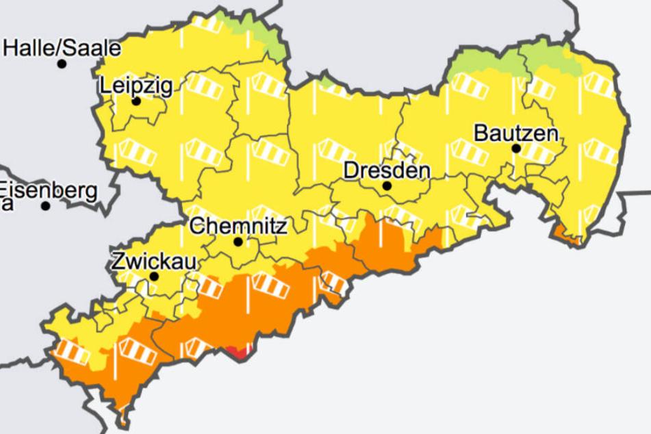In Sachsen wird vor Sturm -und Orkanböen gewarnt.